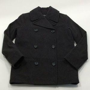 New Kate Spade charcoal grey wool blend pea coat